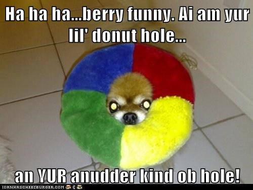 Ha ha ha...berry funny. Ai am yur lil' donut hole...  an YUR anudder kind ob hole!