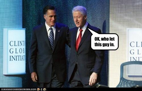 bill clinton,joke,Mitt Romney,uncomfortable,who let you onstage