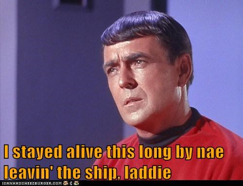 scotty,not leaving,redshirt,alive,ship,james doohan