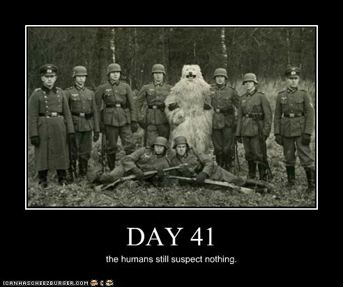 bear,suit,army,military,infiltrate,humans