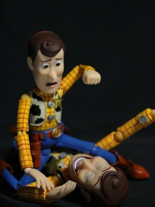 woody,beat up,clone,punch