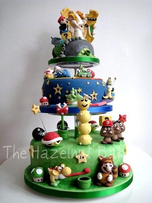 cake,characters,fondant,layers,mario,nintendo