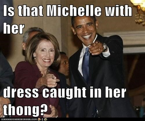 Is that Michelle with her  dress caught in her thong?