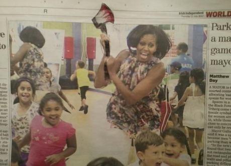 axe murder,children,Michelle Obama,newspaper,politics
