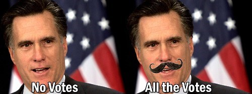 all of them,classy,fancy,handlebars,Mitt Romney,mustache,votes