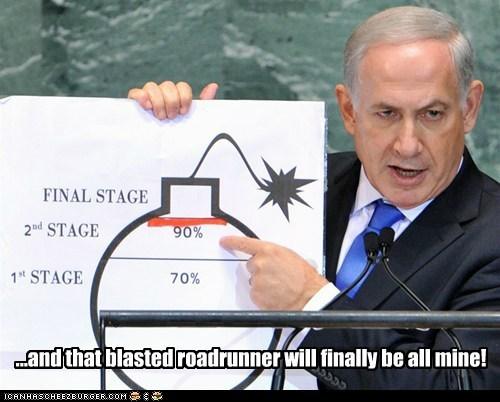 benjamin netanyahu,Israel,bomb,roadrunner,looney tunes,cartoons,wile e coyote