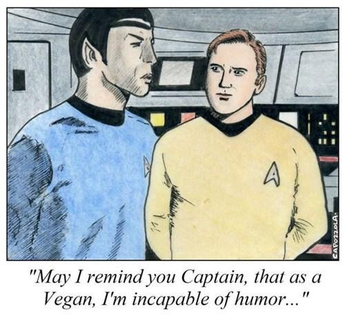 Captain Kirk,cartoons,comic,humor,incapable,Spock,Star Trek,vegan,Vulcan