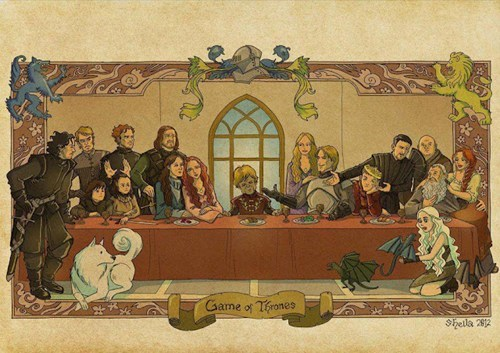 a song of ice and fire,cersei lannister,Daenerys Targaryen,direwolves,dragons,Eddard Stark,fan art,Game of Thrones,ghost,jaime lannister,Joffrey Barathion,Jon Snow,Littlefinger,painting,sansa stark,the last supper,tyrion lannister