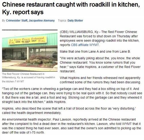 news,Probably bad News,restaurant,roadkill