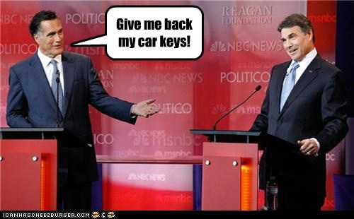 car keys,Mitt Romney,Rick Perry,debate,stolen