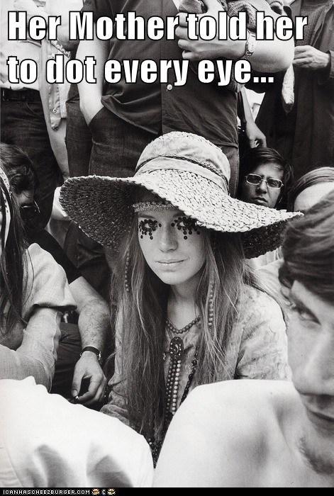 hippies,girl,makeup,dots