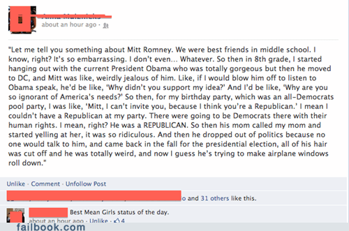 Failbook: Mean Girls: Election 2012 Edition