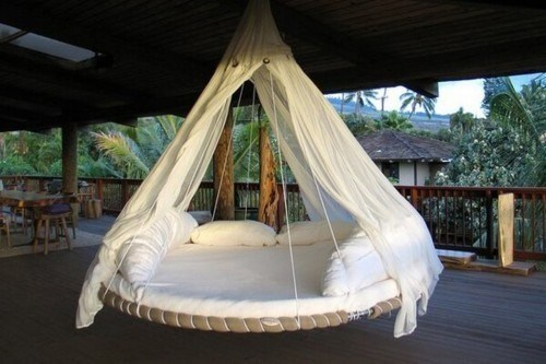 The Reused Swinging Trampoline Bed