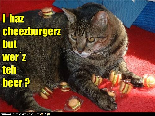 I  haz cheezburgerz but   wer`z teh   beer ?