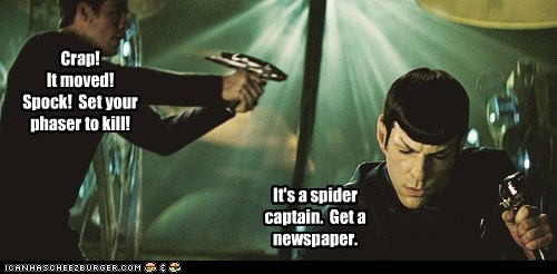 annoyed,scary,Captain Kirk,phaser,Spock,spider,Zachary Quinto,Star Trek,kill,chris pine
