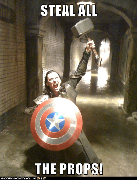 loki,props,all the x,stealing,tom hiddleston,mjolnir,sheild,avengers