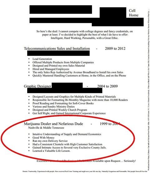 resume,marijuana,drug dealer