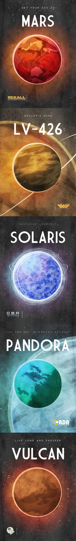 planets,travel posters,ads,Mars,total recall,Rekall,LV-426,Aliens,Solaris,pandora,Avatar,Star Trek,Vulcan,graphic design,fan art,categoryvoting-page