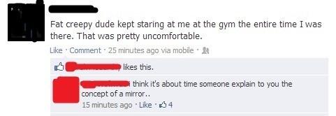 creepy dude,gym,Staring,feel the burn,mirror