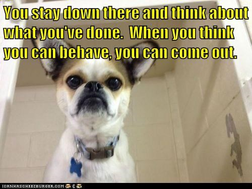 You stay down there and think about what you've done.  When you think you can behave, you can come out.
