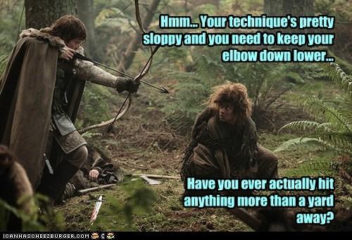 arrow,theon greyjoy,Natalia Tena,criticism,Game of Thrones,technique,alfie allen,osha,archery