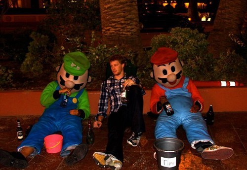 mario,luigi,passed out,too drunk
