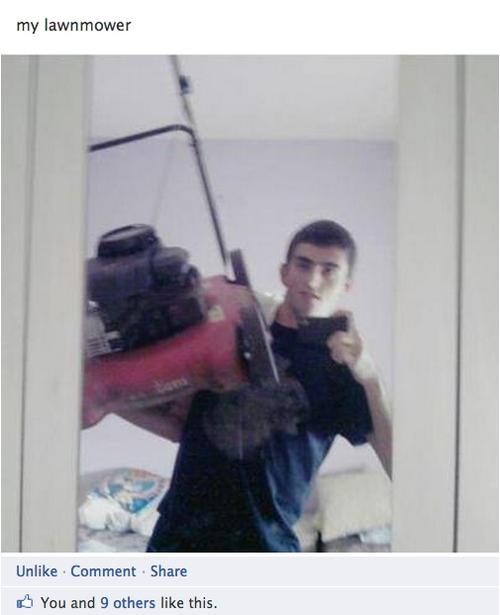 lawnmower,showoff,facebook,profile pic