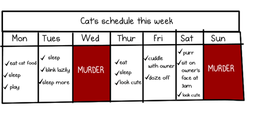 the oatmeal,Cats,murder,facts,science,schedule,calendars,Death