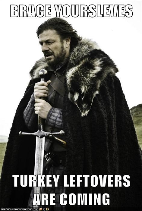 BRACE YOURSLEVES  TURKEY LEFTOVERS ARE COMING
