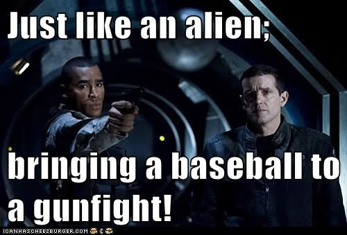 stargate universe,Everett Young,baseball,ronald greer,alien,gunfight,jamil walker smith,Louis Ferreira,Stargate