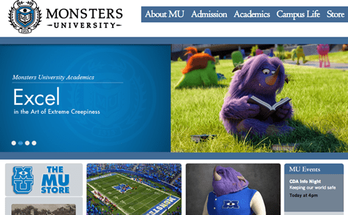 Monsters University's Insanely Detailed Fake Website of the Day