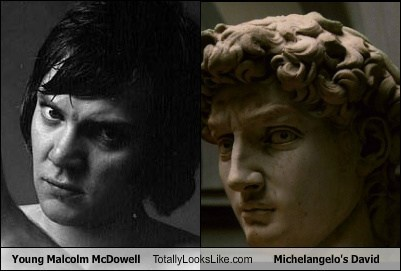Young Malcolm McDowell Totally Looks Like Michelangelo's David
