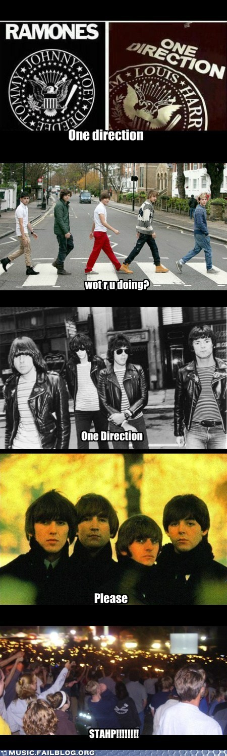 the Beatles,the ramones,one direction