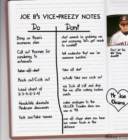 joe biden,vice-presidential debate,notes,dos and donts