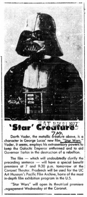 "A Newspaper's Profile of Darth Vader from Before ""Star Wars"" Release"