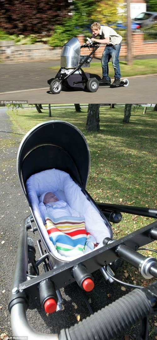 British Man Builds Homemade Stroller. Top Speed: 50 Miles Per Hour.