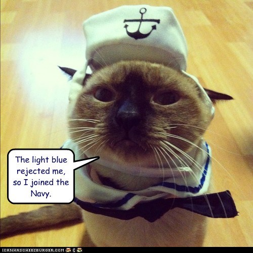 The light blue rejected me, so I joined the Navy.