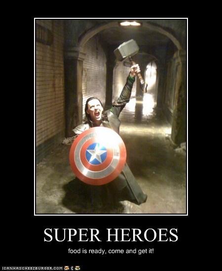 loki,super heroes,shield,tom hiddleston,mjolnir,captain america,calling,dinner bell,avengers