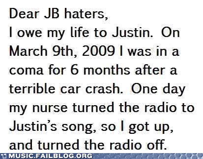 Bieber's Music Saves Lives