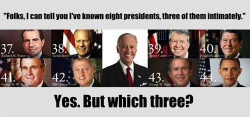joe biden,presidents,intimately,gaffe,misspeaking,Richard Nixon,Gerald Ford,Jimmy Carter,Ronald Reagan,george-hw-bush,bill clinton,george w bush,barack obama