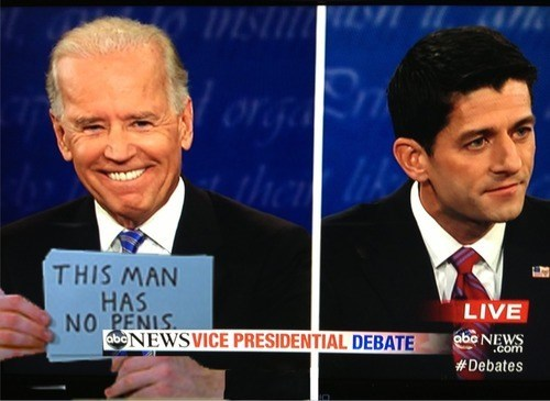 joe biden,paul ryan,waynes world,cards,sign,prank,debate,vice-presidential debate