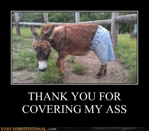 THANK YOU FOR  COVERING MY ASS