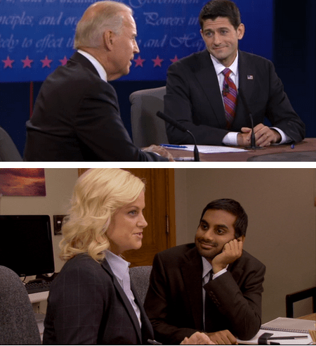 funny,debate,joe biden,paul ryan,Amy Poehler,aziz ansari
