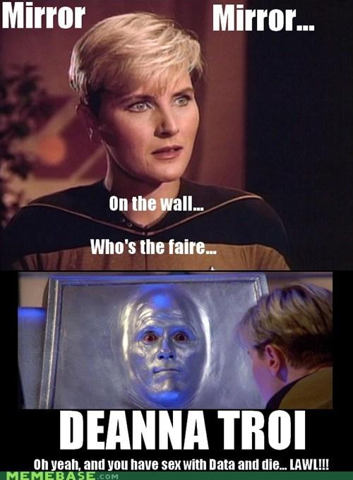 tasha yar,mirror,spoilers,lawl,die,the next generation,lol,data,denise crosby,Star Trek,deanna troi