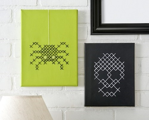 DIY,craft,cross stitch,skull,spider,halloween,art