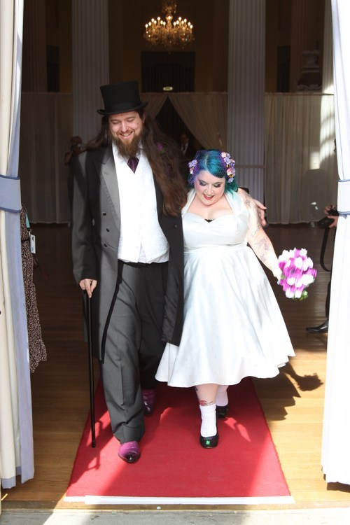 blue hair,cane,top hat,couple,happy,cute