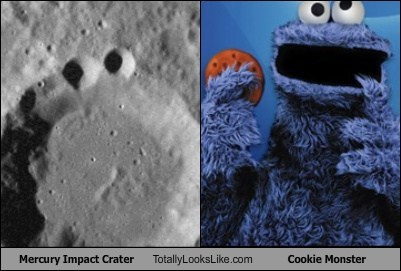 Mercury Impact Crater Totally Looks Like Cookie Monster