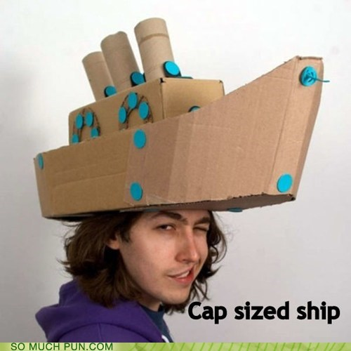 capsized,cap-sized,sized,cap,ship,homophone,space,double meaning,literalism
