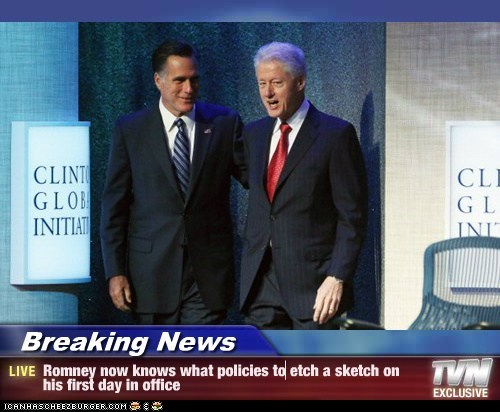 Breaking News - Romney now knows what policies to etch a sketch on his first day in office