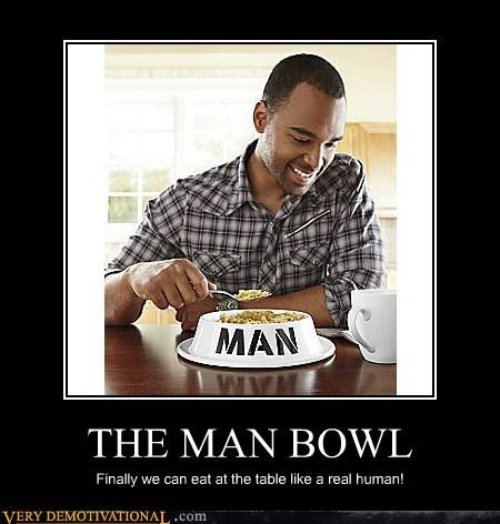 man,dog food,bowl